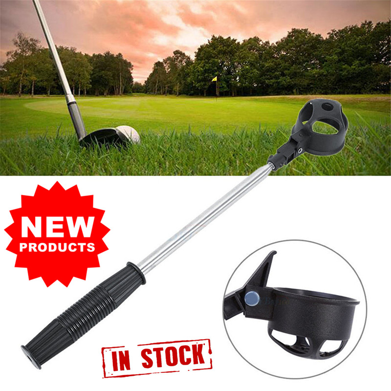 Golf Pick Up Ball Telescopic Retriever Picking Up Shaft Scoop Accessorie Equipment 8 Section 1 Pc Tube Shag Bag Alloy Black