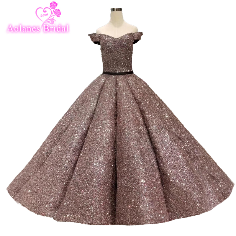 royal Prom Dresses Vestido Longo Gorgeous Waves Big Skirt Ball Gowns 2019  Saudi Arabic Prom Gowns Glitteres Blings Prom Dress a880016f6339
