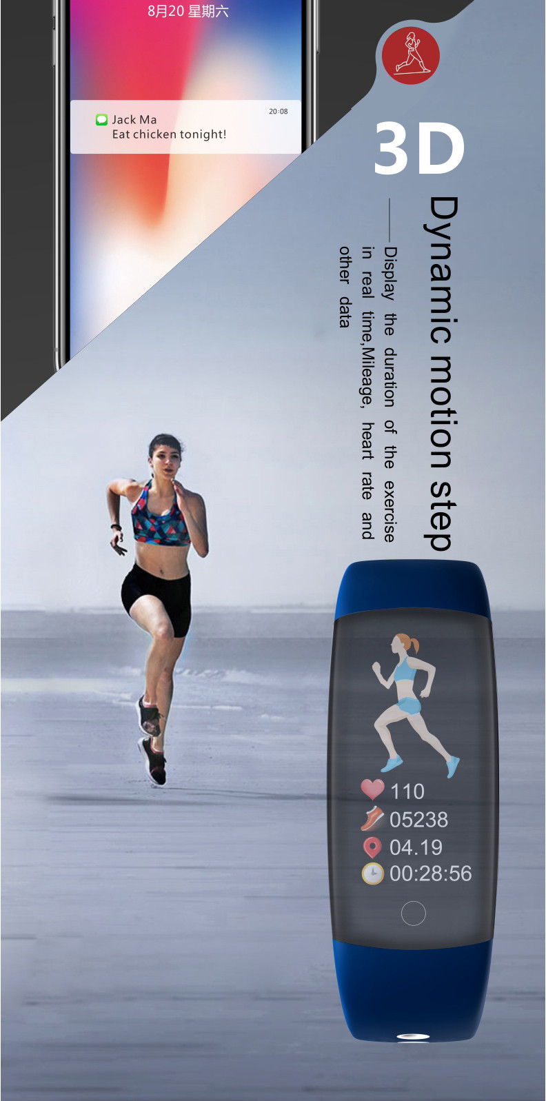 Waterproof Fitness Tracker With Blood Pressure