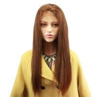 Eseewigs коричневый шелковистая прямая Синтетические волосы на кружеве натуральные волосы парики для афроамериканцев Для женщин #4 Remy натураль