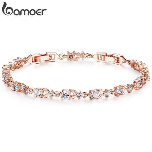 Bamoer 6 Colors Luxury Rose Gold Color Chain Link Bracelet For Women Las Shining Aaa Cubic