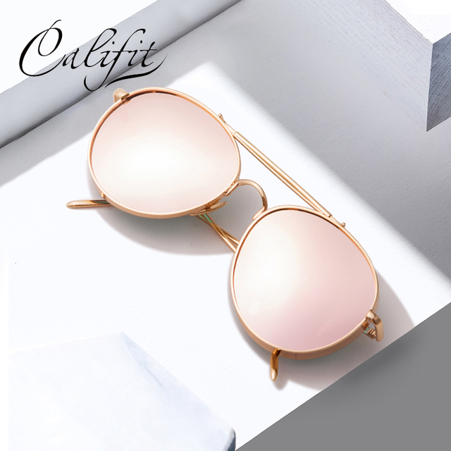5ddfbd6a42 CALIFIT Mirror Pink Sunglasses Women Metal Frame Brand Designer Oculos  Pilot Sun Glasses For Men Luxury Shades Female UV400