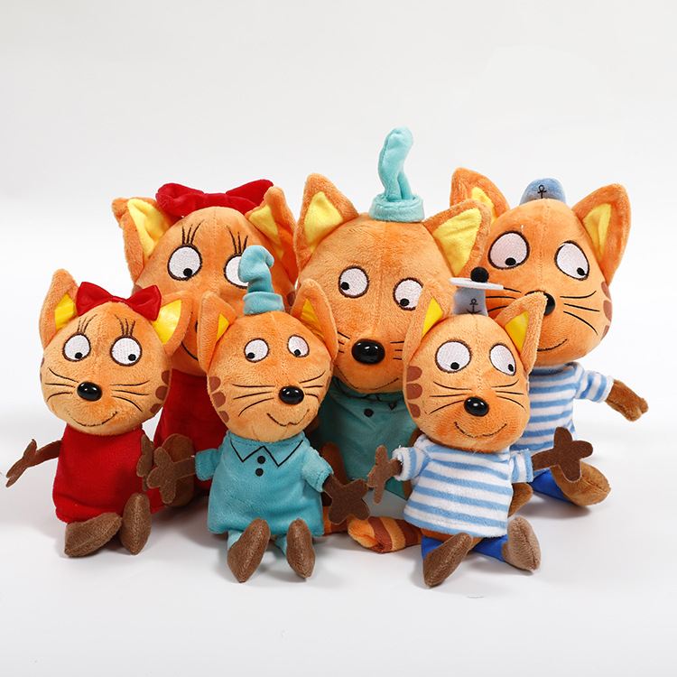 Big Cartoon Three Happy Kittens Cat 20-30cm Kawaii Brinquedos Plush Toy Stuffed Animals Doll For Children Gift
