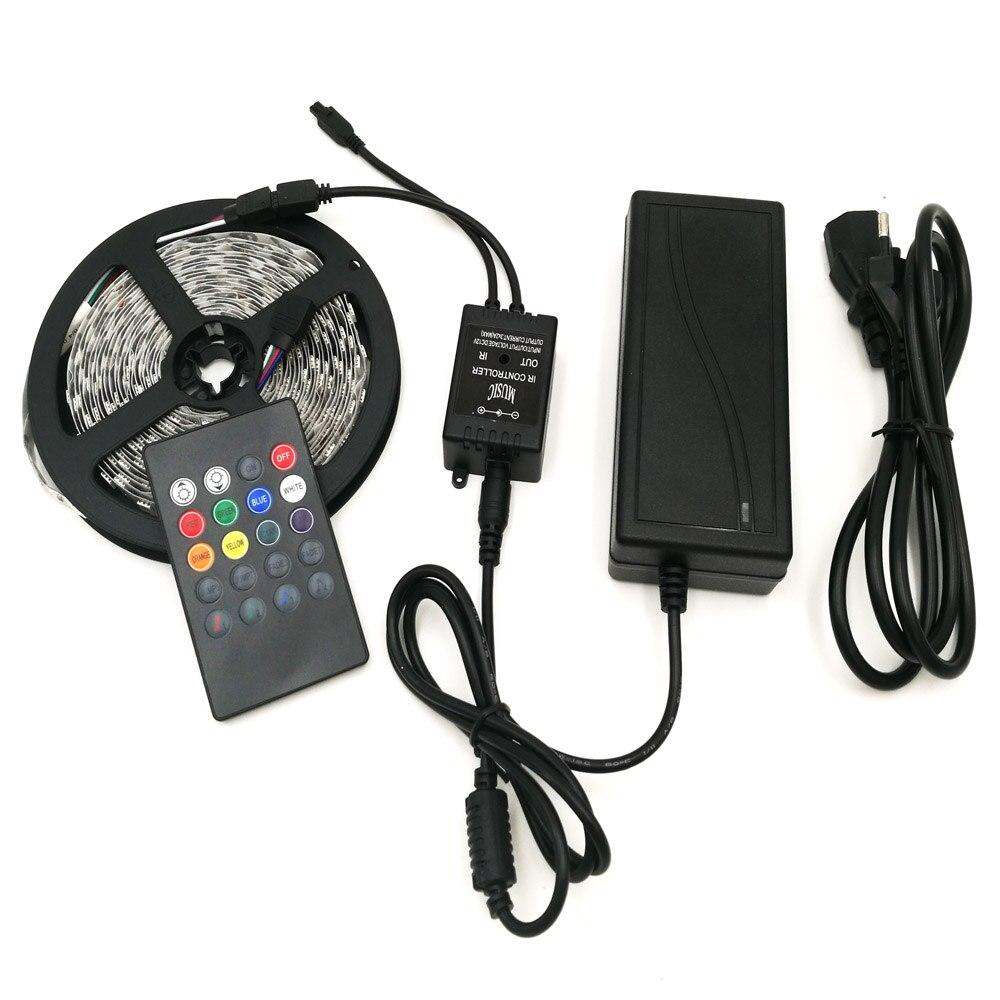 Музыка RGB Светодиодные ленты света 5050 60leds/м Светодиодная Клейкие ленты диода лента + Музыка Пульт дистанционного управления + DC12V адаптер 5 м ...