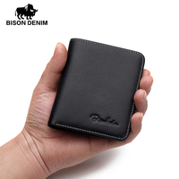 BISON DENIM Mini Wallets Mens Genuine Leather Wallet Thin Soft Purses Men Male Card Holder For