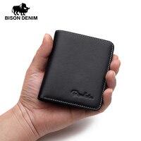 BISON DENIM Mini Wallets Mens Genuine Leather Wallet Thin Soft Purses Men Male Card Holder For