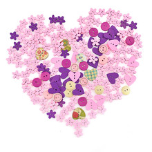 100pcs/lot Blulk Mixed 2-Hole Wooden Buttons Heart Pattern Decorative Fit Sewing DIY Scrapbooking Clothes Craft Tools