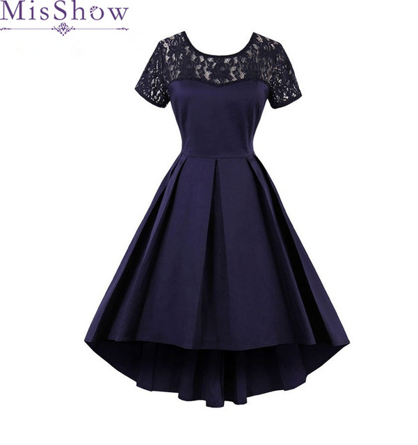 Autumn 4XL Women Vintage 1950s 60s Dresses 2017 Elegant Ball Gown Short  Sleeve Dark Navy Burgundy Female Retro Party Dresses 191618d37d6b