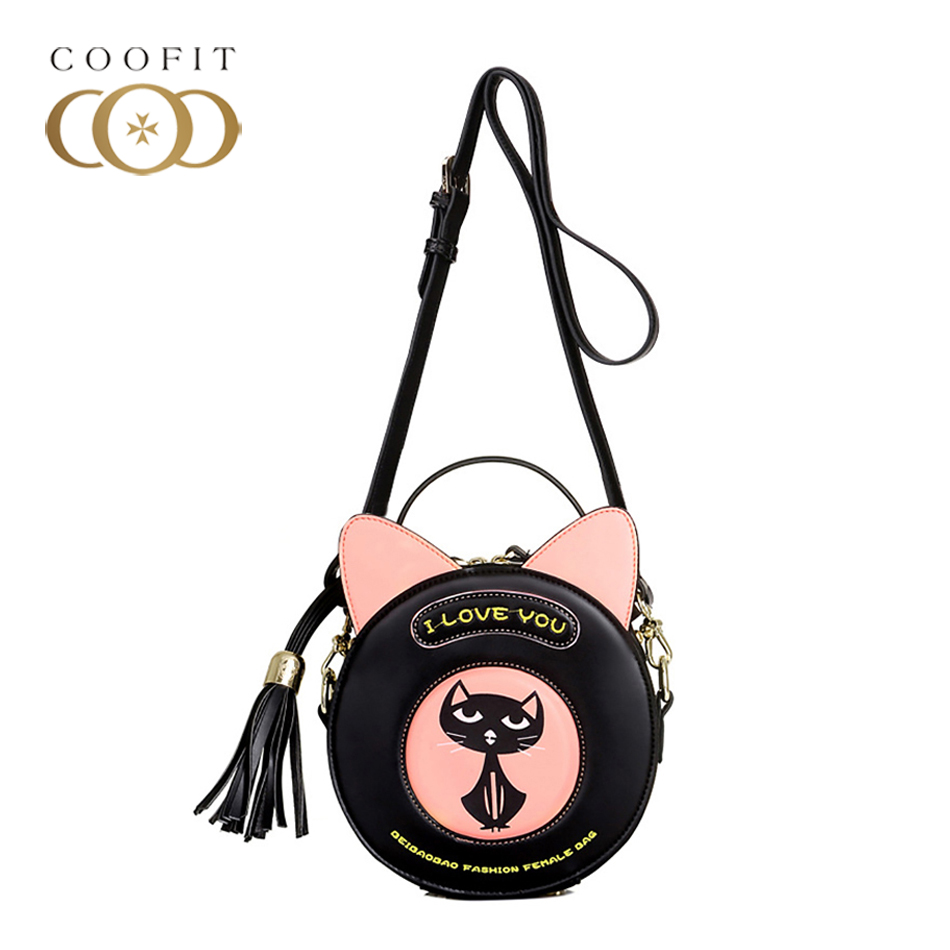 Coofit Cut Cat Pattern Crossbody Bags For Baby Girls Womens Small Round Shaped Shoulder Bag High Quality PU Handbags With Tassel