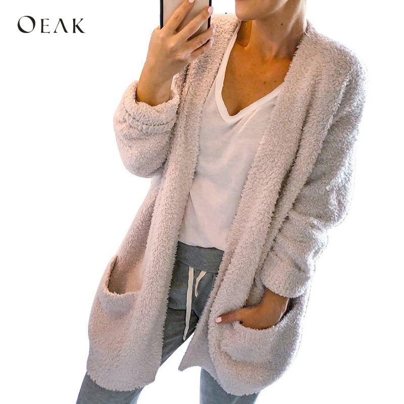 OEAK 2018 меховой кардиган женский однотонный длинный рукав теплое осеннее зимнее пальто Топы Повседневные вязаные свитера кардиганы Женская тонкая куртка