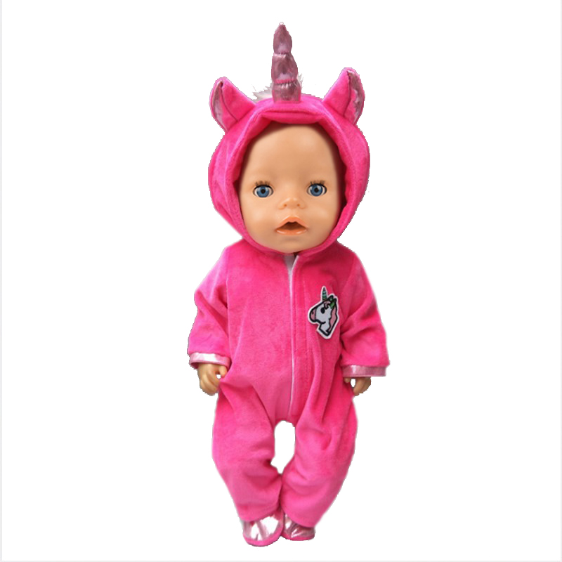 Fit 18 Inch 43cm Doll Clothes Born Pink Blue Unicorn Kitten And Pony Baby Doll Accessories Suit For Baby Birthday Festival Gift