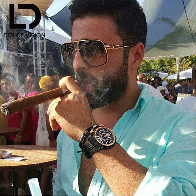 fcdfc2c9c80 DOLCE VISION Luxury Brand Designer Sun Glasses For MenRectangle Pilot  Sunglasses Men Pilot Driving 2018 Lunette Shades Male