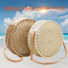 Women Beach Round Hollow Out Straw Braided Bag Messenger Bags Hand Woven Single Shoulder Handbag Summer Crossbody