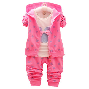 Image 3 - 2020 New Childrens suit girl Minnie suit autumn and winter childrens clothing suit / Hooded Jacket+T shirt+trousers /3pcs