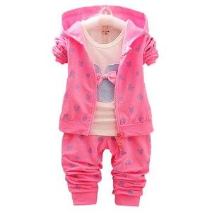 Image 3 - Terno infantil menina minnie, camiseta e jaqueta com capuz roupas infantis outono inverno 2020 + calças/3 peças