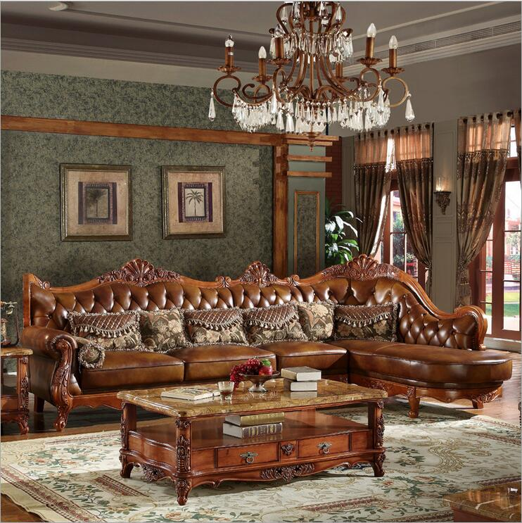High Quality  European  Antique Living Room Sofa Furniture Genuine Leather Set 10252
