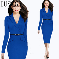 Hot Suit Pencil Dress Soild V Collar Bodycon Business Slim Dress With Free Belt Fashion Long