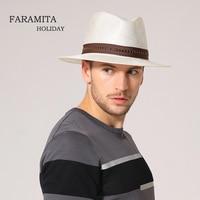 Faramita Holiday Straw Man Summer Sun Casual White Men's Imitation Wool Solid Color Fedora Fashion Gentleman Cowboy Hat Cap Jazz