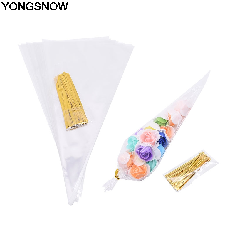 50Pcs/Set Transparent Cone Candy Bag DIY Wedding Birthday Party Sweet Cellophane Organza Pouches Decoration Food Storage Bags