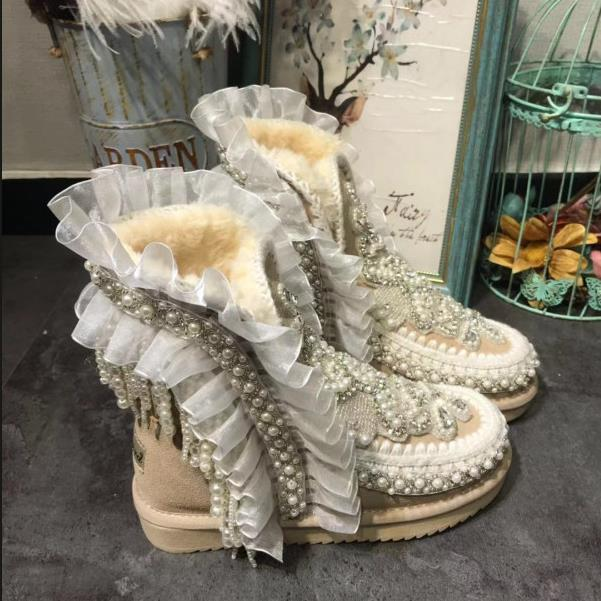 Las Rhinestone Tobillo Lujo Invierno Algodón Suela Caliente Zapatos Mujer De Nieve Botas As Damas Pic Gruesa Mujeres wqIYqt