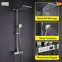 Ванная комната дождь смеситель для душа Установить Термостатический Смеситель цифровой Душ Панель Системы Chrome латунь водопад ванной Насад
