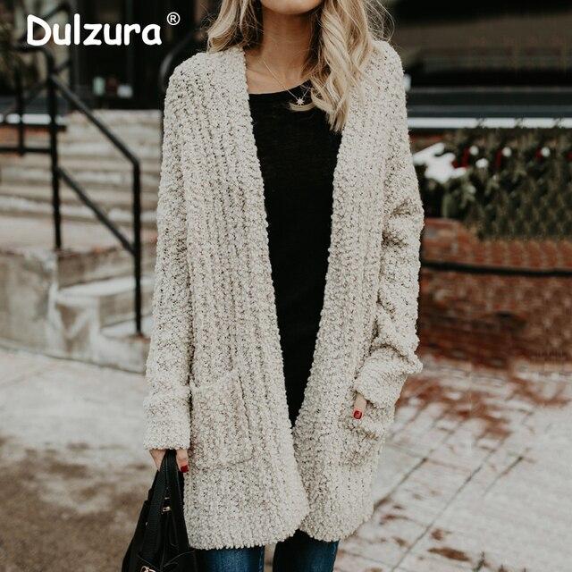 32cfb2cef2 Casual Knitting Long Cardigans Female Loose Kimono Cardigans 2018 Autumn  Winter Knitted Jacket Coats Pockets Sweaters Cardigans
