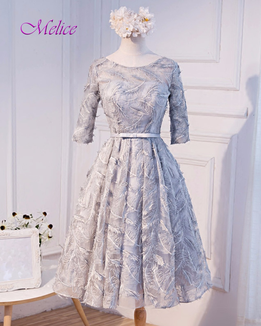 Fmogl Fashion Scoop Neck Feathers Lace Prom Dress 2018 Hot Sale Backless Sashes Formal Evening Gown Vestido de Festa Plus Size