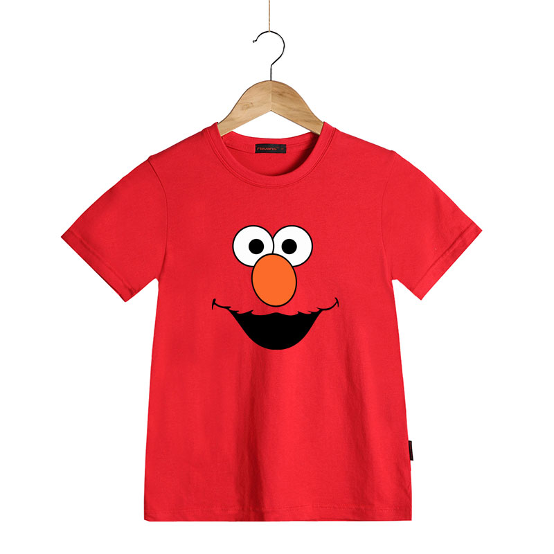 0937a3325 Sesame Street Clothing Kids Boys&girls Cartoon Summer T-shirt 6 Face Cookie  Elmo Grove Big Bird Oscar Bert Tees Tops