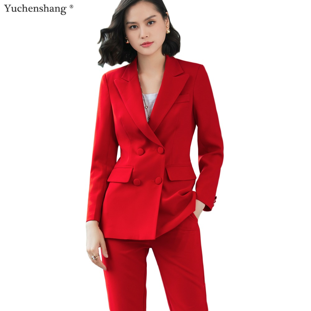 2018 New office work blazer suits of high quality OL women pants suit blazers jackets with trouser two pieces set red pink blue