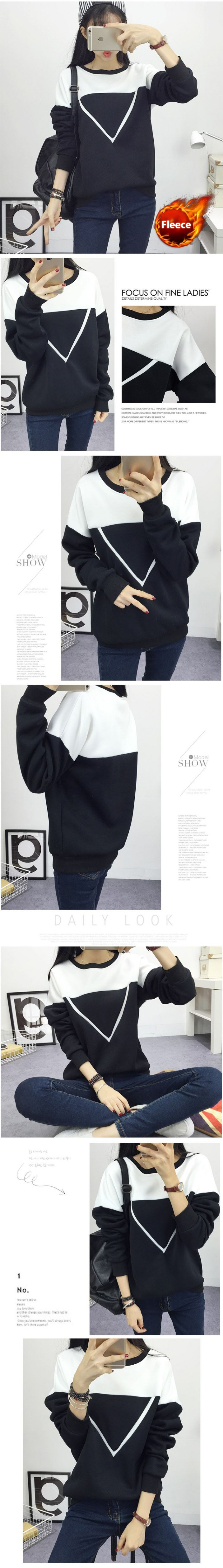 HTB1BatBjyCYBuNkHFCcq6AHtVXa3 - Winter New Fashion Black and White Spell Color Patchwork Hoodies Women V Pattern Pullover Sweatshirt Female Tracksuit M-XXL