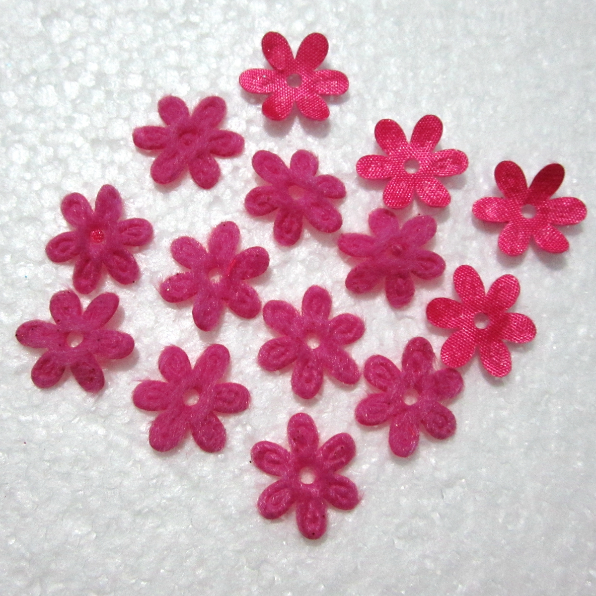 Diy craft 500pcs 15mm padded felt spring flower appliques wedding decoration A294*5