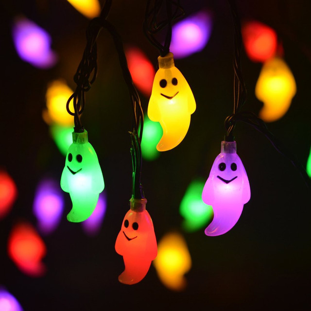 5m 20pcs Led Ghost String Lights Funny Ac85 265v Fairy Christmas Lamps Color For Indoor Festival Wedding Holiday Party Garden