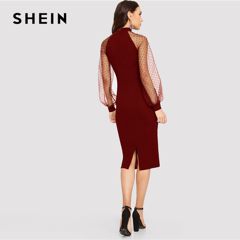 Image 4 - SHEIN Party Black or Blue Pencil Bodycon Dress With Jacquard Contrast Mesh Lantern Sleeve Spring Women Long Sleeve Solid Dresses-in Dresses from Women's Clothing