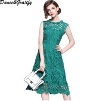Top Grade Women Fashion Lace Dress 2018 Summer Cocktail Party Women Crochet Lace Embroidery Sleeveless A Line Green Dress