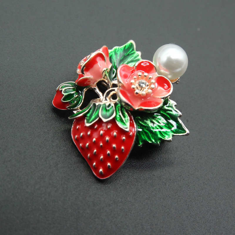 Rhao Cute Red Enamel Strawberry Bros Pin Buah Bros untuk Wanita dan Anak Perempuan Gaun Mantel Perhiasan Gesper Jilbab Pin Pernikahan pin