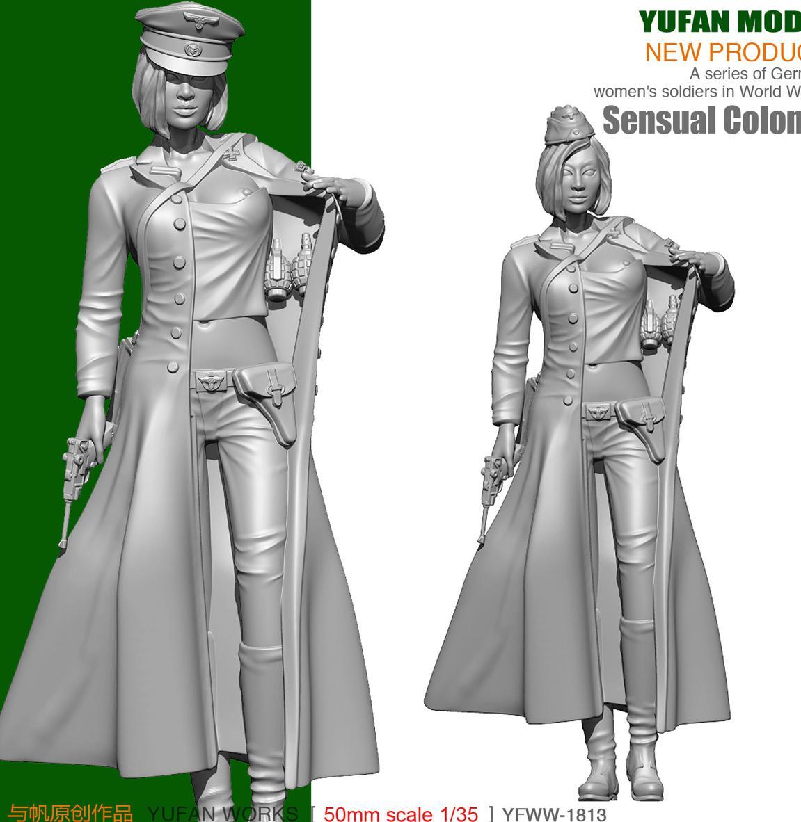 Yufan Model 1/35  Resin Figura German Sexy Women Officers Soldier Model YFWW35-1813