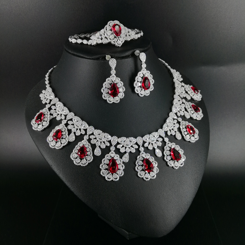 2018 new fashion water drop RED CZ zircon necklace earring bracelet ring wedding bridal banquet dinner dressing jewelry set 2018 new fashion luxury vintage green cz zircon necklace earring bracelet ring wedding bridal banquet dressing jewelry set