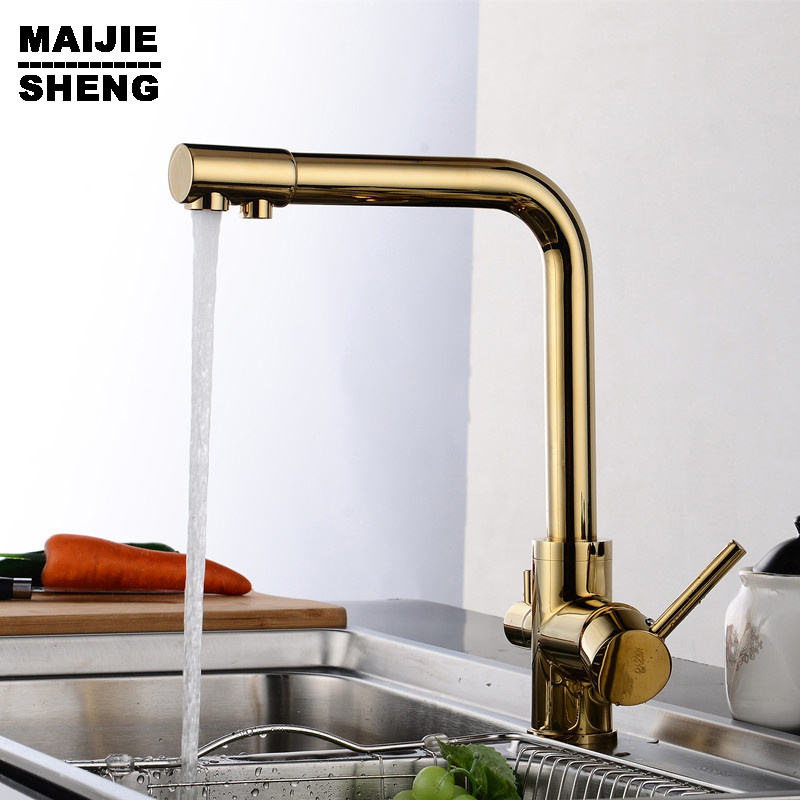kitchen faucet 3 way function Kitchen mixer water filter mixer tap Golden color 3 way kitchen faucet pure water горнолыжная маска giro giro blok светло зеленый large