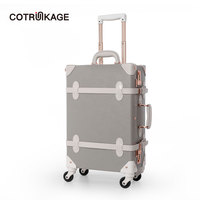COTRUNKAGE Grey 26 Pu Leather Large Hard Shell Retro Luggage Suitcase Women Travel Spinner Vintage Luggage Trunk with 4 Wheels