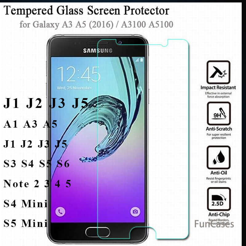 Real premium tempered glass film the front screen protective glass on for samsung 2015 2016 2017 A3 A5 J1 J3 J5 S3 S4 S5 S6 film