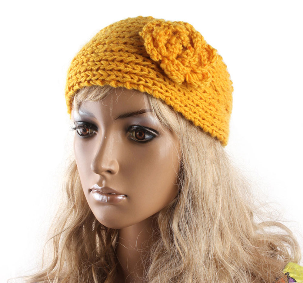 2016 New Yellow Camellia Flower Crochet Knit Knitted Headwrap ...