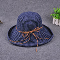 Bowknot Straw Hats for Women 2016 Summer Beach Fashion Sun Hat Floppy Wide Brim Foldable Panama Chapeau Femme Wide Brim Hat