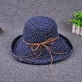 Sombreros de Paja del bowknot para Las Mujeres 2016 Verano Playa gafas de Sol de Moda Encabezamiento Panamá sombrero Floppy Ala Ancha Plegable Femme de Ala Ancha sombrero