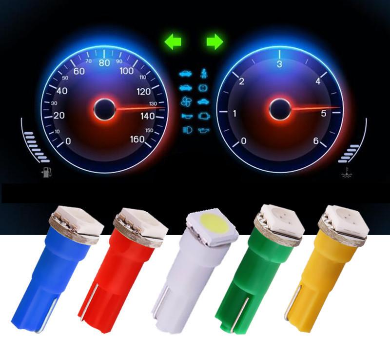 10pcs T5 1 SMD Yellow Pure White RED Blue Green Wedge panel LED Car Light Bulb Lamp 74 trace led car bulbs interior 12V car in Signal Lamp from Automobiles Motorcycles