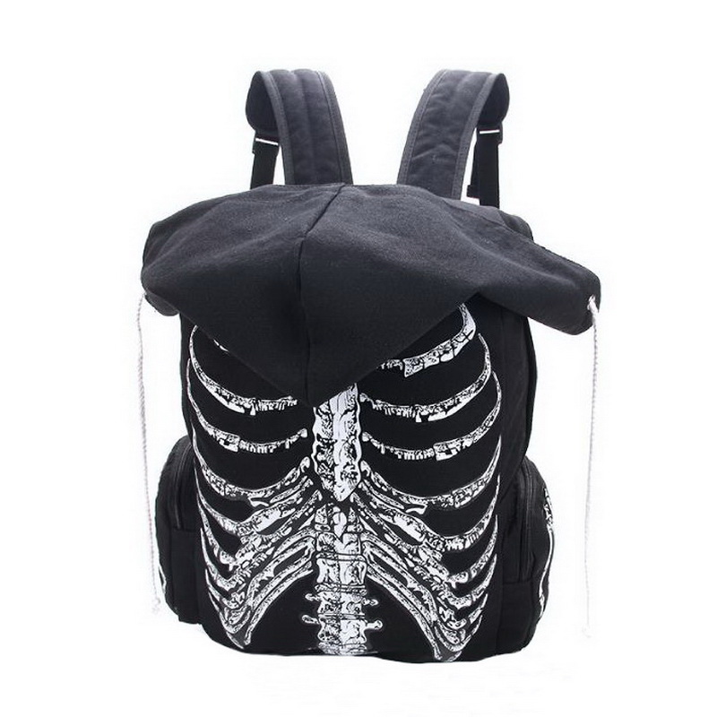 Fasion Cool School Bags Unisex Skull Skeleton Printed Backpack Gothic Punk Style Women Designer Travel Bag new 2016 men s printed jeans punk style gothic painted cotton straight leg cool jeans for young men