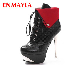 ENMAYER new  Fashion Lace-Up Thin Heels Patent Leather Platform boots Sexy Winter Martin Boots Size 34-39 Women Ankle boots tie up patent leather eyelets ankle boots