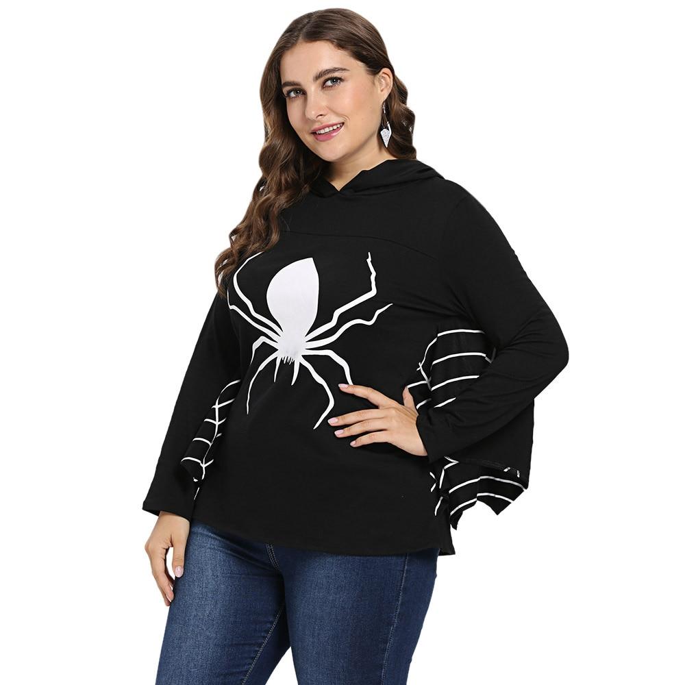 ec9477bd17f Wipalo Plus Size Halloween Top Women Hoodies Hooded Batwing Sleeve Spider  Web Print Sweatshirts Hoodie Autumn Ladies Tops 5XL-in Hoodies    Sweatshirts from ...
