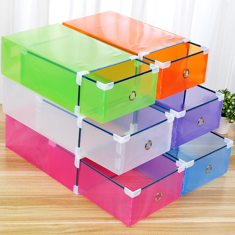 1PCS Hot Sel Thickened flip shoes transparent Drawer Case Plastic Shoe Boxes Stackable Box storage box shoe storage organizer