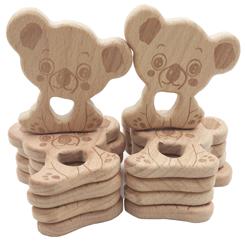 New Style DIY Beech Wooden Teether Kids Montessori Play Gym Toys Baby Rattles Ch