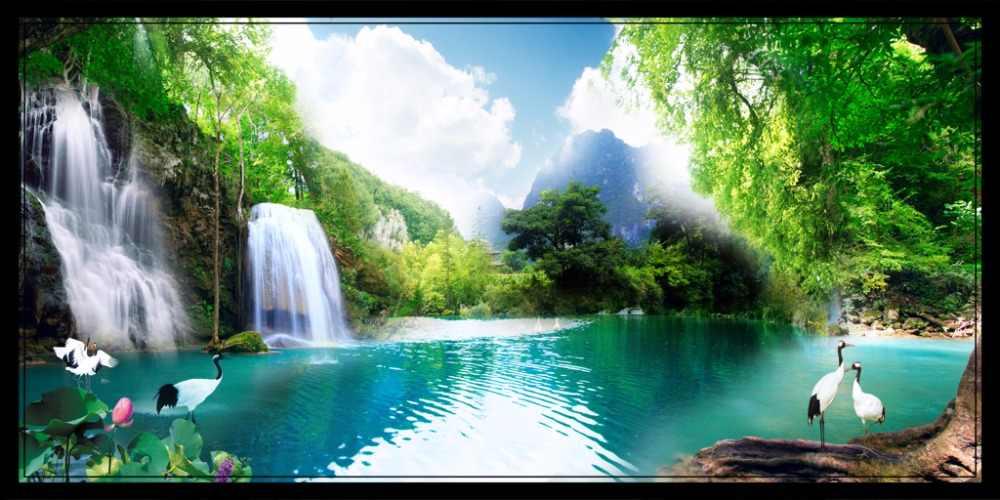 3D Curtain Custom 3D Beautiful Natural Mountain Landscape Waterfall Curtain Living Room 3D Bathroom Shower Curtain
